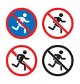 no pedestrian sign no esit no entry icon set vector image