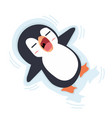 penguin sleeping on ice vector image vector image