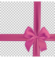 realistic pink bow and ribbon isolated vector image