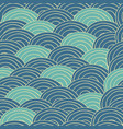 seamless handmade pattern with blue sea waves vector image vector image