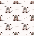 seamless pattern with brown dogs and bones vector image vector image