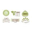set of colorful food emblems with text gmo vector image