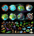 set of planets and elements for game design vector image