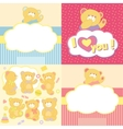 Set teddy bears in different poses vector image