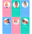 six breastfeeding banners with colorful backdrops vector image
