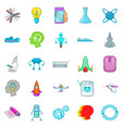 space technology icons set cartoon style vector image vector image