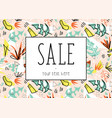 Summer sale template tropical leaves
