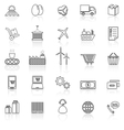 Supply chain line icons with reflect on white vector image vector image