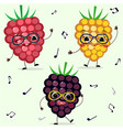 three raspberries smiley in cartoonish power vector image vector image