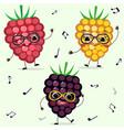 three raspberries smiley in cartoonish power vector image