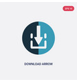 two color download arrow icon from user interface vector image vector image