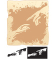 two hands stylized for michelangelo creation mural vector image vector image