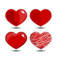 valentines day element with red hearts collection vector image