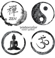 watercolor set yoga and buddhism icons vector image