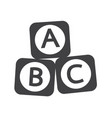 a b c baby toy brick block icon vector image