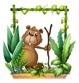 A beaver holding a wood vector image vector image