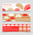 asian style banner template with hand fans vector image vector image