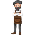 barber in brown apron vector image vector image