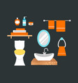 bathroom icons colored set with process water vector image