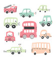 big set of different hand drawn toy cars vector image vector image