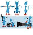 Blue cat character sheet vector image vector image