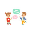 boy and girl greeting each other kids good vector image