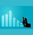 businessman sitting listless due to decreasing vector image