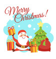 christmas card template with cute cartoon vector image