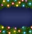 Christmas lights on pine on blue vector image vector image