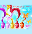 cosmetic background with butterflies from nail vector image