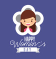 cute girl in flower happy womens day card vector image
