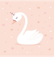cute swan unicorn on pink background vector image