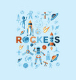 digital line icons set space and rockets vector image vector image