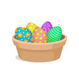 easter eggs with ornaments in brown ceramic pot vector image vector image