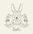 easter poster with cute rabbit with decorative vector image vector image
