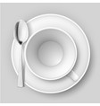 empty cup with spoon on saucer on white vector image