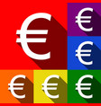 euro sign set of icons with flat shadows vector image vector image