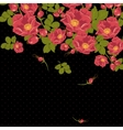 Floral ornament with wild rose on a polka dot vector image vector image