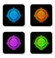 glowing neon outsourcing concept icon isolated on vector image vector image