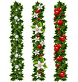 Green Christmas garlands of holly and mistletoe vector image vector image