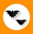 halloween bats flat icon with long shadow vector image vector image