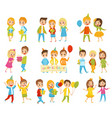 happy birthday kids set little boys and girls vector image vector image