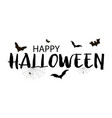 happy halloween greeting card with bats vector image