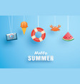 hello summer with decoration origami hanging vector image