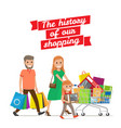 history of our shopping family with cart set vector image