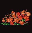 hot orange orchid flowers on black design element vector image vector image