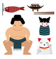 japan landmark travel icons collection vector image