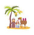 joseph mary bajesus and camel palm desert vector image vector image