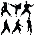 Karate pose sihouettes vector image
