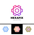 mechanic gear fix hexagon abstract logo design vector image